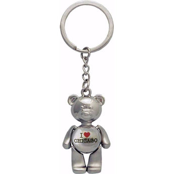 I Love Chicago Metal Teddy Bear Keychain