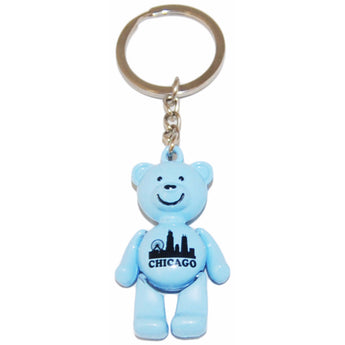 Chicago Colorful Teddy Bear Keychain