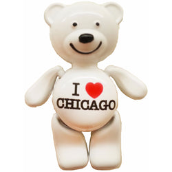 white i heart chicago cute teddy bear magnet