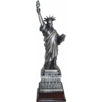 Bronze Statue of Liberty Replica with Wooden Base