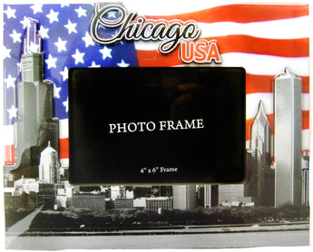 Chicago 2D USA Flag Skyline Picture Frame