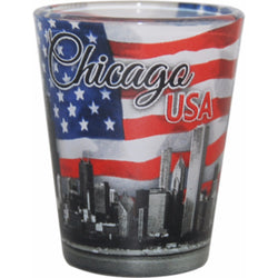Chicago USA Shotglass with American Flag
