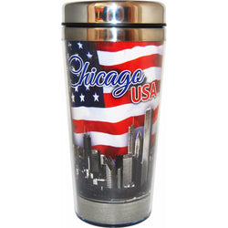 Chicago USA pAtrotic travel mug with american flag and city skyline