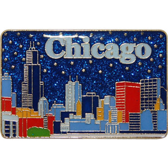 Chicago blue metalic magnet chicago skyline