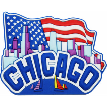 refrigarotor magnet chicago illonois with city skyline and United states of america falg