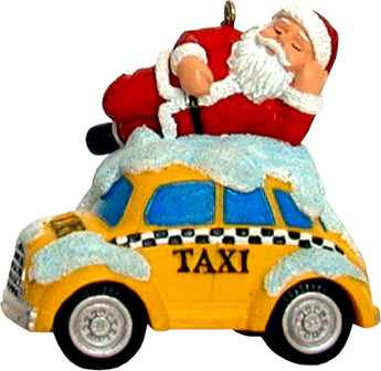 Santa on Top of New York Taxi 3-D Christmas Ornament