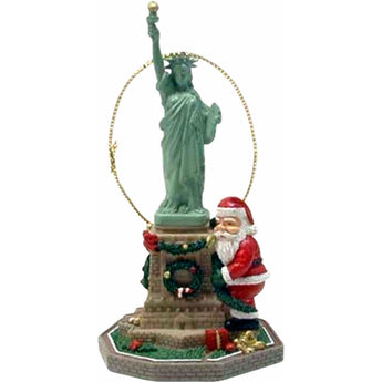 Santa Hugging Statue Of Liberty Christmas Ornament