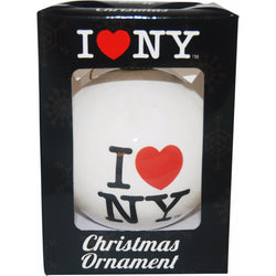 I Love New York White Christmas Ornament