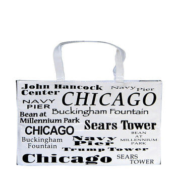 White chicago tote bag with all the things that make the windy city famous in black