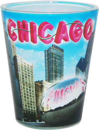 Chicago blue skyline shotglass