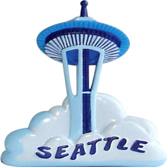 blue sky cloud space needle magnet