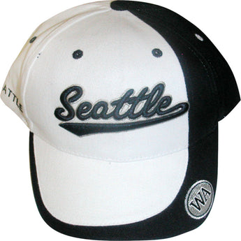 white hat with word seattle written on it