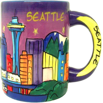 purple seattle coffe mug space needle yeloow word