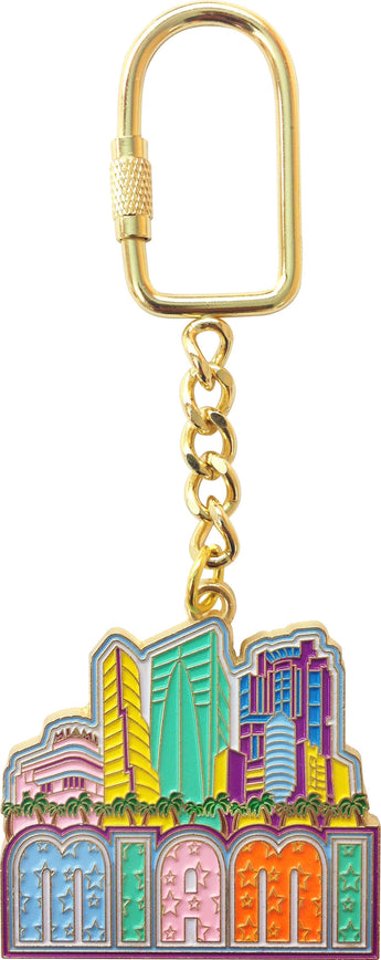 Gold Plated Miami Skyline Keychain