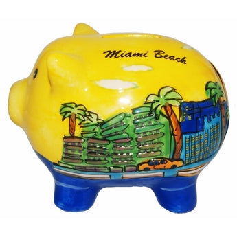 Miami Beach Handpainted Piggy-Bank
