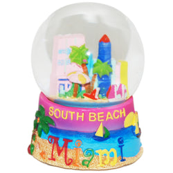 Large South Beach Miami Snowglobe