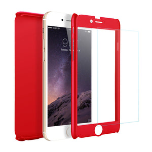 360° Full Coverage Stylish Case Cover For Apple iPhone + Free Hybrid Glass Film Protector