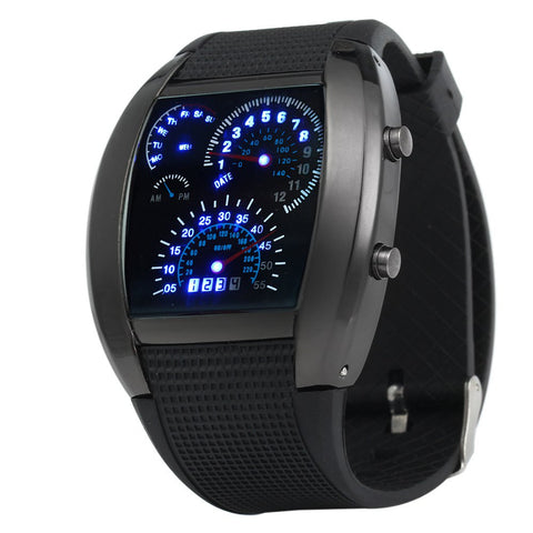 LED Watch with Arch Dial and Silicon Watch Band