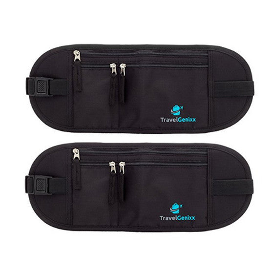 Money Belts For Travel, 2 pack (RFID-secure) Black