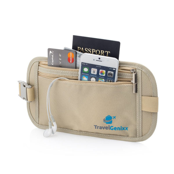 TravelGenixx Hidden Travel Money Belt Waist Pouch for Women (Nude/Brown)