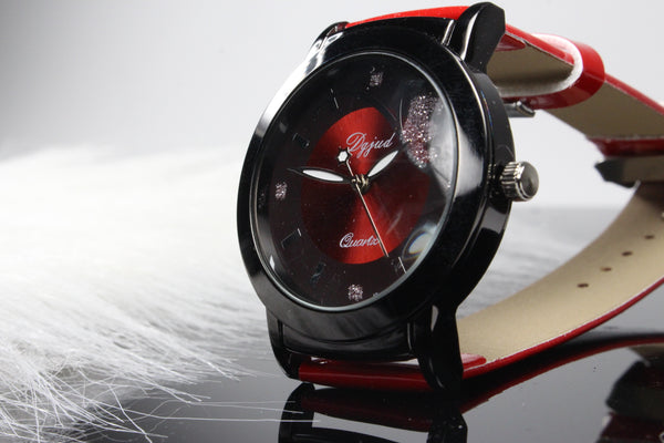 Womens-Watch-Cherry-Blossom-Red-Leather-Band