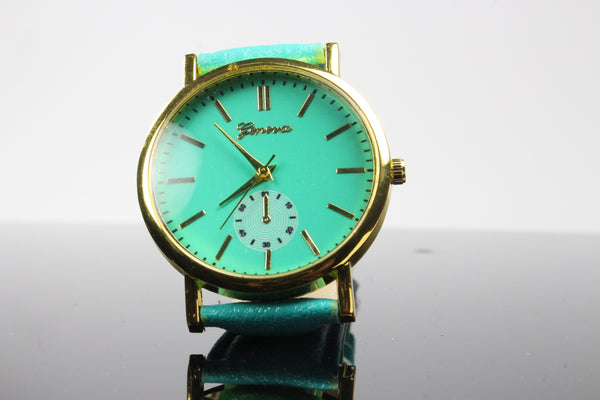 Womens-Watch-Turquoise-and-Gold-Turquoise-Leather-Band
