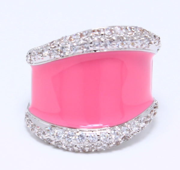 pink-enamel-epoxy-ring-pave-cubic-zirconia-accent-rhodium-plated