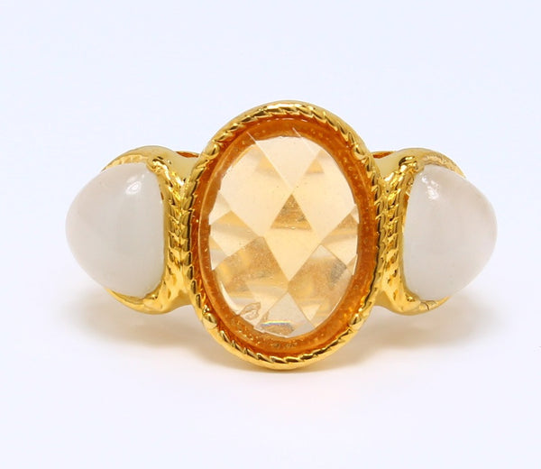 champagne-cubic-zirconia-3-stone-ring-checkerboard-cut-smokey-topaz-14k-yellow-gold-plated