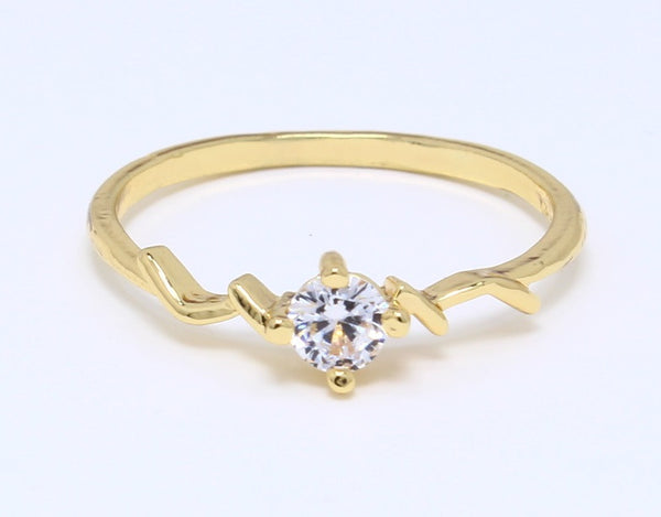 CZ-Diamond-Ring-in-Gold-Plated-Bling-Prong-Set-Round-Classic-Solitaire