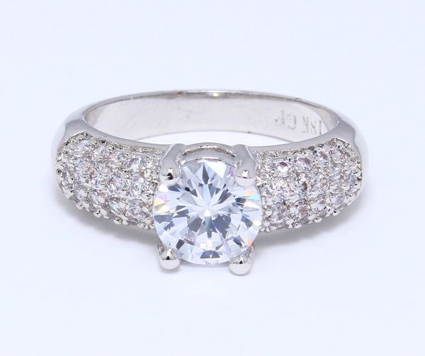 HUGE-CZ-Diamond-Ring-in-White-Gold-Plated-Diamond-Embedded-Set-Round-Classic-Solitaire