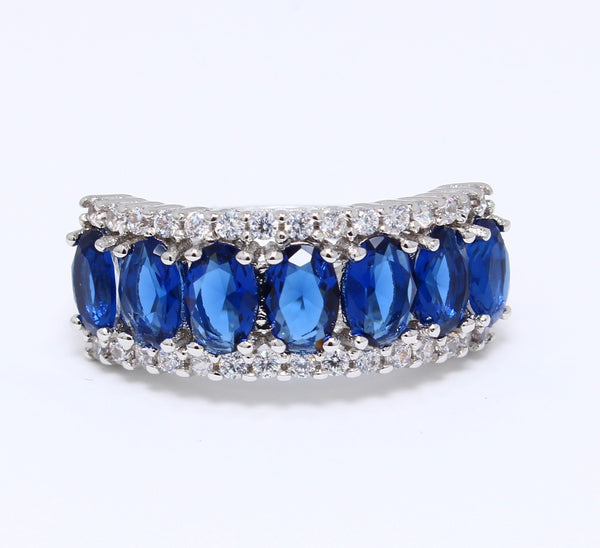 7-Stone-CZ-Sapphire-Ring-Cocktail-Platinum-Plated