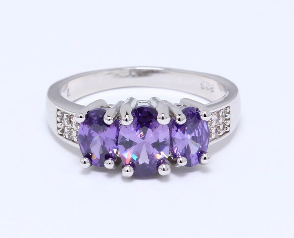 3-Stone-Purple-Amethyst-Cubic-Zirconia-Ring-Round-Cut-Platinum-Plated