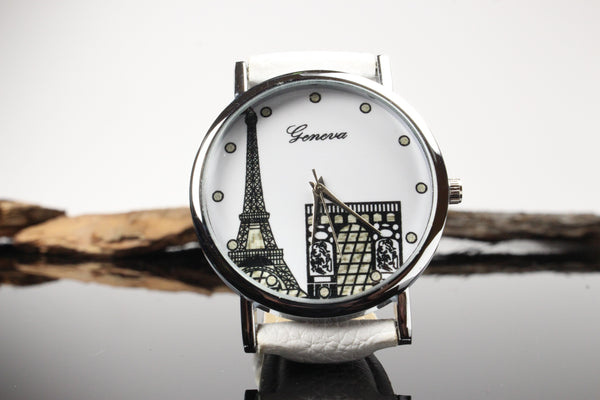Paris-Theme-Watch-White-Face-White-Leather-Band