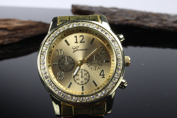 Womens-Yellow-Gold-Stainless-Steel-Watch
