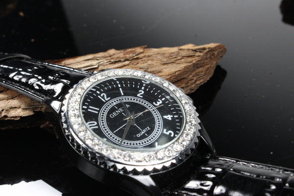 Mens-Black-and-Silver-Watch-CZ-Diamond-Dial-Black-Leather-Band