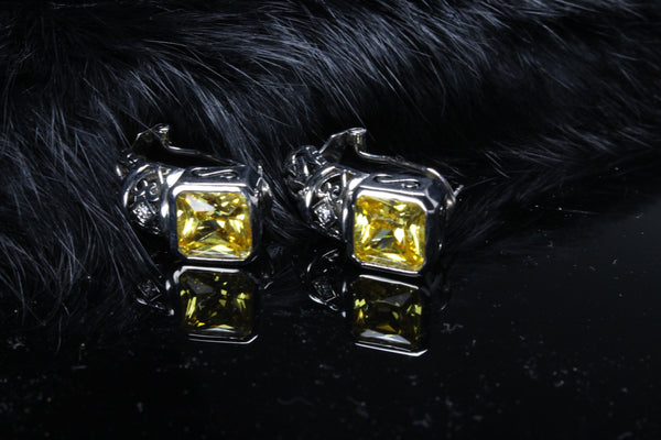 yellow-cz-hoop-huggie-earrings-cushion-cut-antiqued-platinum-plated-citrine