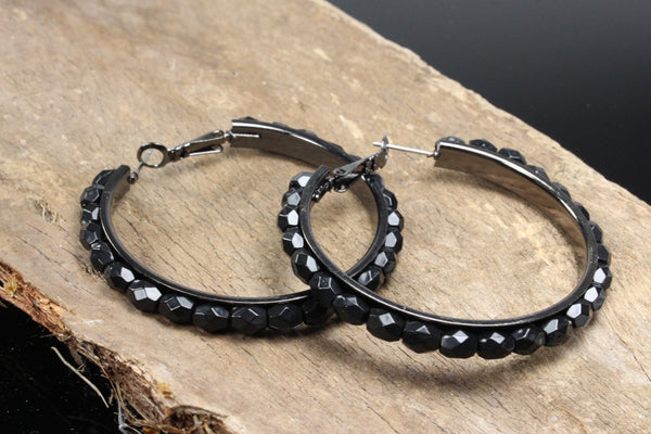 black-hoop-earrings-raised-crystal-acrylic-2-inch-silver-plated