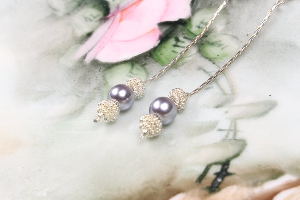 faux-black-pearl-drop-dangle-chain-earrings-silver-plated-stud
