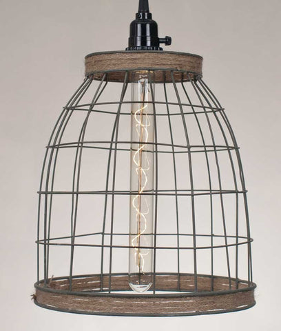 Basket Pendant Lamp with Jute