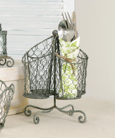 CTW Chicken Wire Utensil Holder - Barn Roof