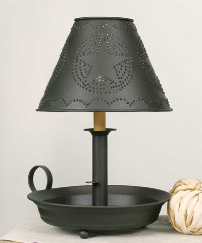 CTW Flat Dish Lamp with Star Shade - Rustic Brown
