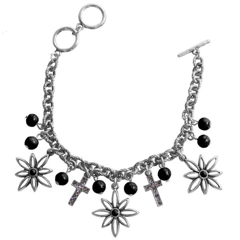 Faith Gear Women's Bracelet - Flower Cross Silver