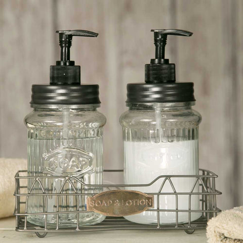 CTW Hoosier Soap and Lotion Caddy with Glass Dispensers