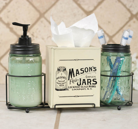CTW Mason Jar Bathroom Caddy with Mason Jars and Tissue Box Cover