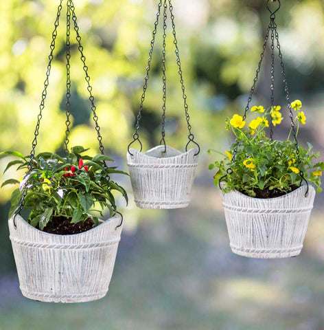 Set of Three Hanging Cement Baskets