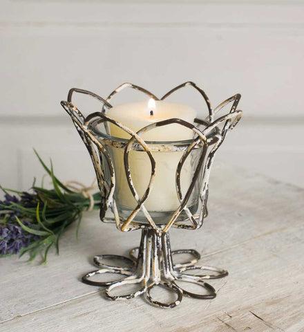 CTW Tulip Votive Holder With Glass - Set of 4