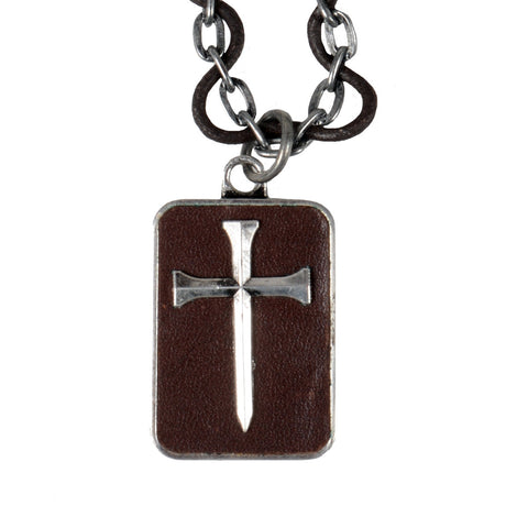 Guy's Necklace - Leather Nail Cross