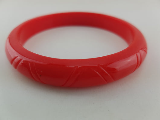 Bangle - Red Carved Thin