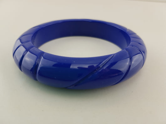 Fantasy Carved Bangle - Royal Blue