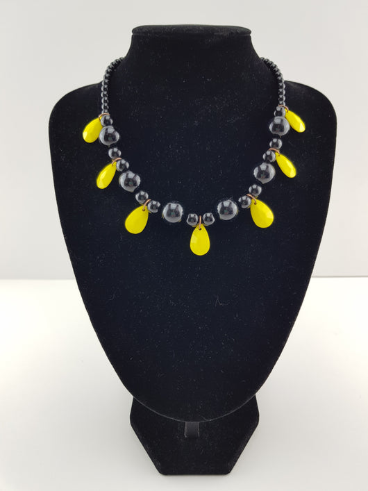Black and Yellow Pendant Necklace